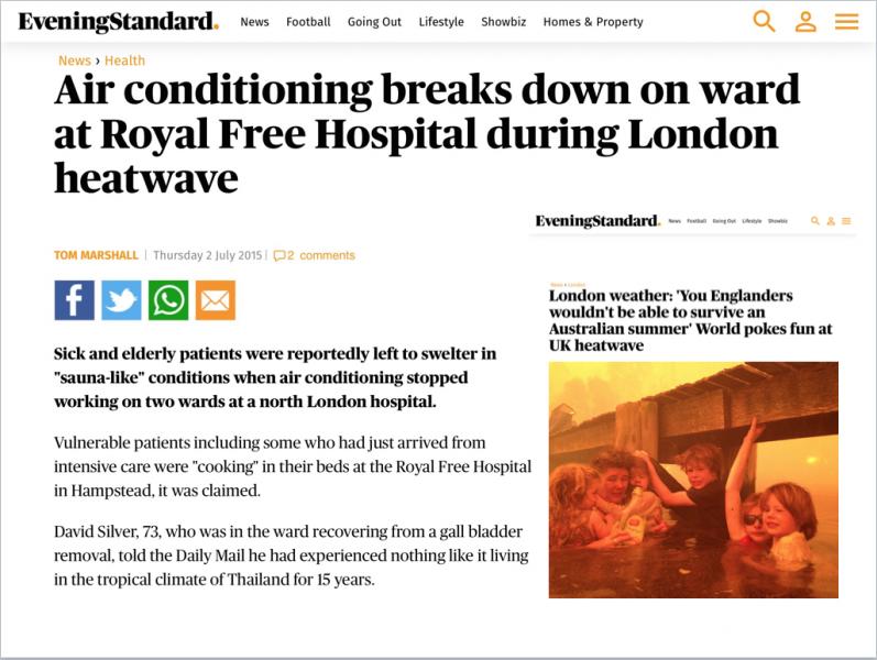 Urban heat island effect - hospital closure