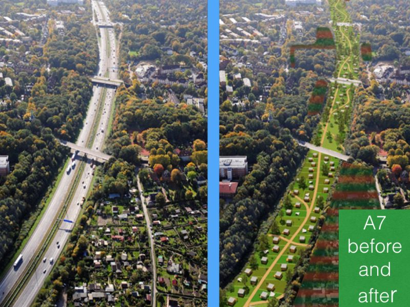 Hamburg Motorway before and after green roofs