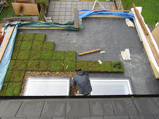green roof installation - Wallbarn